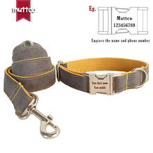 Grey And Yellow Luxury High-end Quality Muttco Laser Engraved Dog Collar Retailing Colorful Handmade Leash