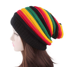 Hip Pop Style Women's Winter Hats Unisex Red Yellow Green Black Rainbow Color Striped Bonnet Beanies Knitted Cap Female Lady Hat(China)