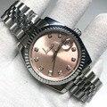 Роскошные часы для мужчин и женщин роскошные часы Дата-just President автоматические механические часы Механические бриллианты розовый цифербла...