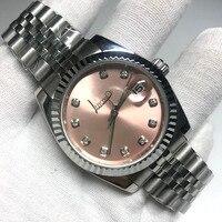 Luxus Uhr Männer Frauen Luxus Uhr Datum nur Präsident Automatische Mechanische Uhren Mechanische diamanten rosa Zifferblatt-in Mechanische Uhren aus Uhren bei