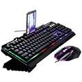 Juego ergonómico mecánico ratón y teclado de portátil juego de retroiluminación Led ordenador RGB Multimedia cambiable con cable Kit luminoso