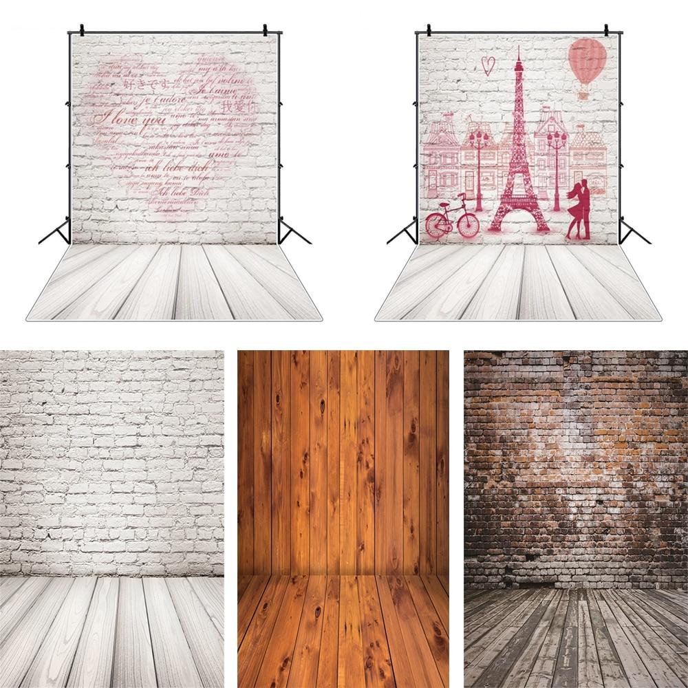 Фон для фотосъемки с изображением сердца и кирпичной стены и деревянного пола