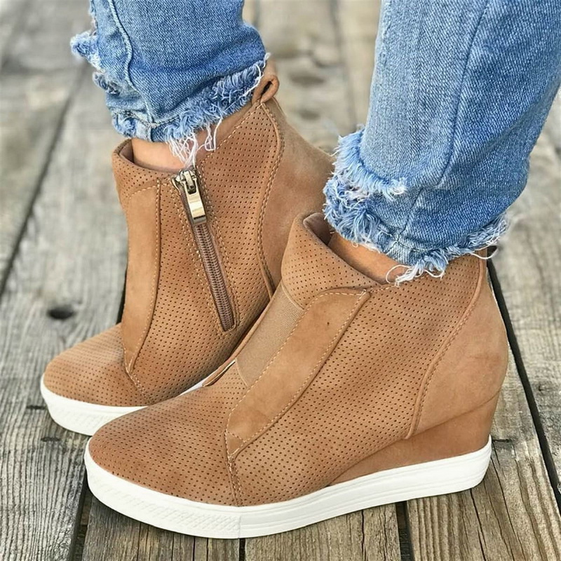 MoneRffi  Spring Autumn Women Shoes Breathable Mesh Sneakers Flats Zipper Loafers Thick Heels Platform Wedges Casual soft Shoes