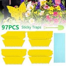 20-97 pçs/set borboleta amarela forma dupla face placa pegajosa planta flores legumes mosquito moscas armadilha placa inseto adesivo