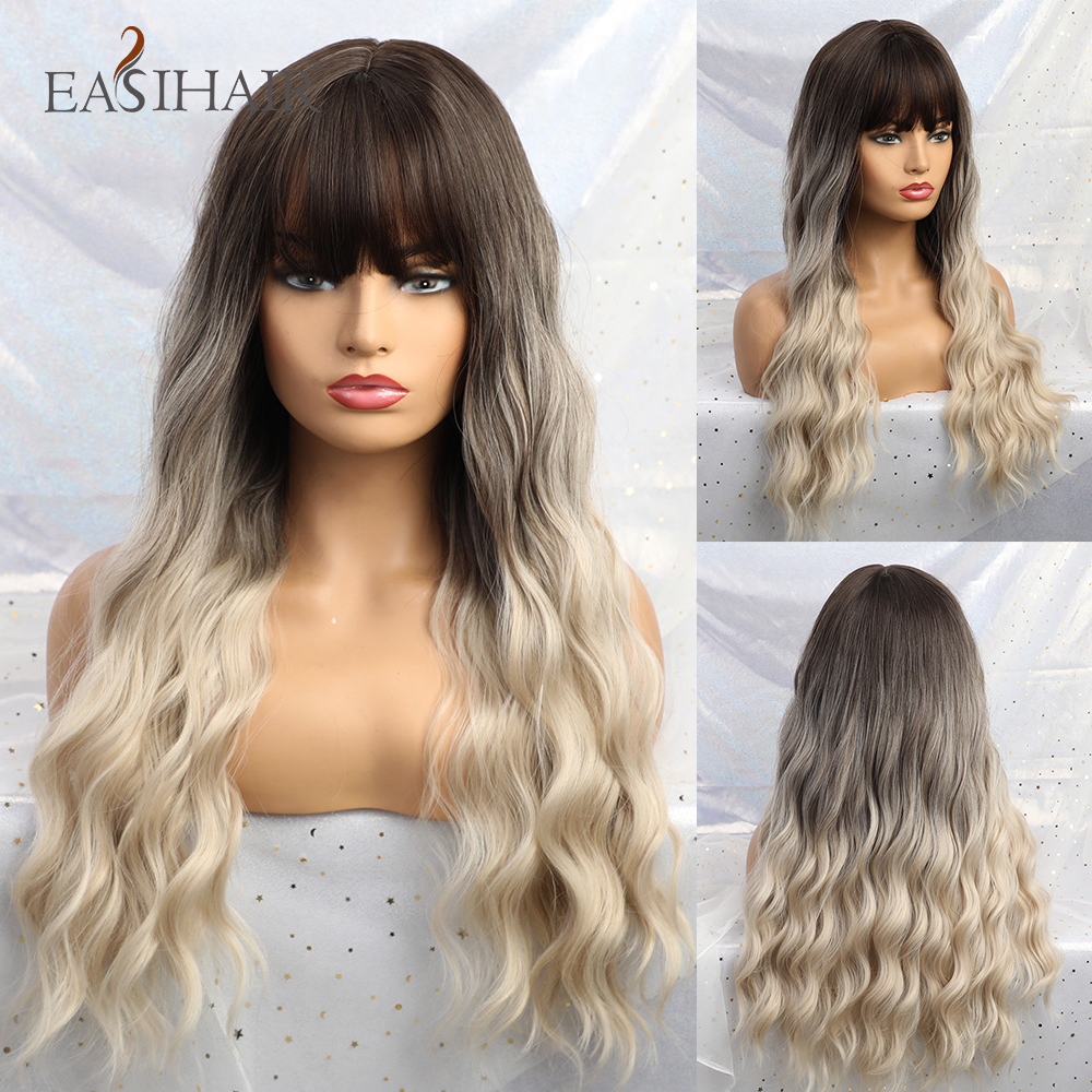 EASIHAIR Long Wave Brown To Blonde Ombre Synthetic Wigs For Women Body Wave Hair Cosplay Wigs Lolita Party Heat Resistant Wigs