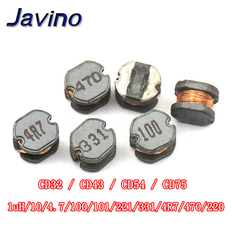 10pcs CD32/43 54 CD75 Smd Patch Power Inductor 10UH/4.7/100/101/221/331 470 220 Winding Inductor