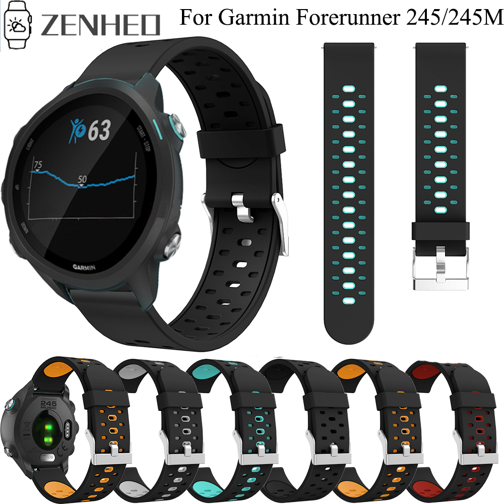 20mm Silicone Strap Wristband For Garmin Forerunner 245 245M 645 Smart Watch Band Replacement Watchband For Garmin Vivoactive 3