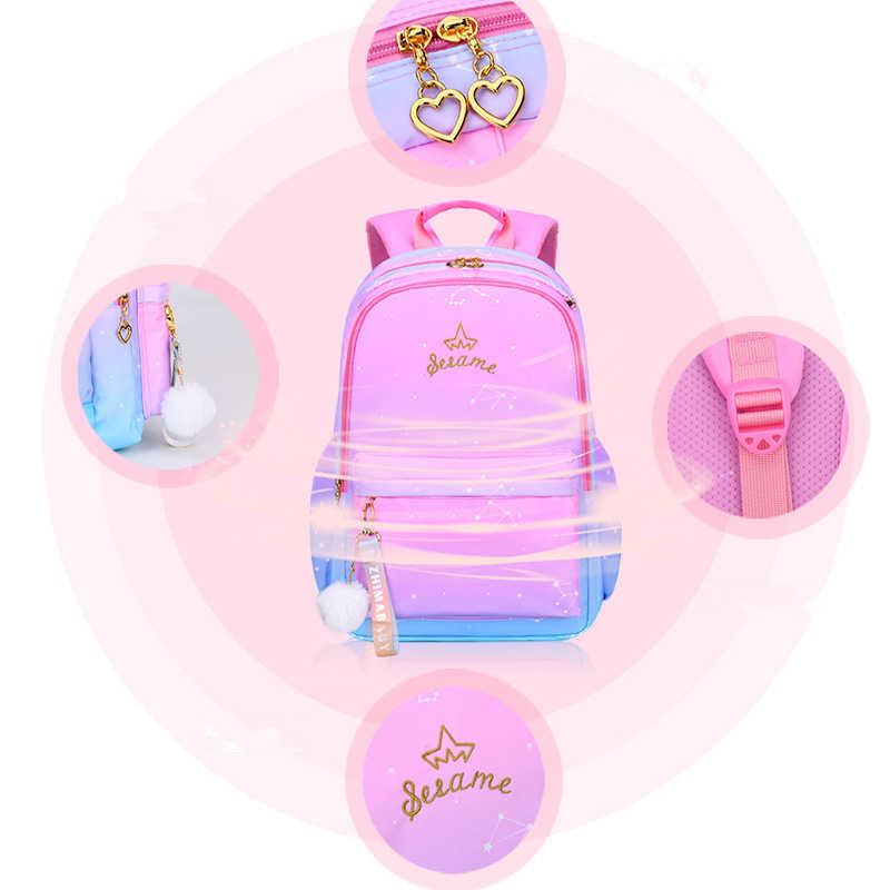 Nowy plecak do szkoły ortopedycznej plecaki dziewczęce nylonowe torby szkolne dla dzieci podstawowe tornistry klasa 1-6 książka dla dzieci torba
