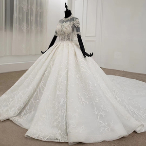 Image 3 - HTL1231 2020 lace wedding dress high neck half sleeve applique beading  crystal lace upback  bride dressing gown suknie slubne