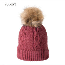 SUOGRY Real Raccoon Fur Pompom Hats For Women Thick Gravity Falls Cap Wool Knitted Caps girl Autumn Winter Beanies Female Hat
