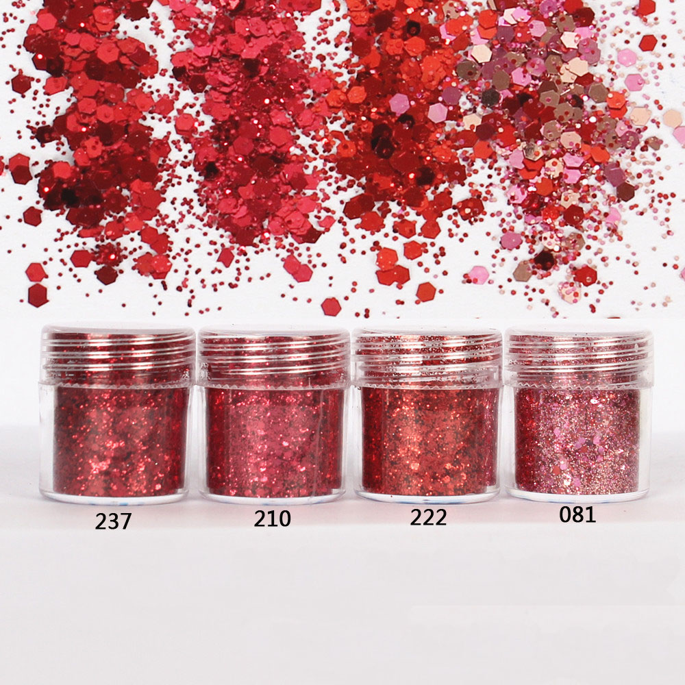 Red Set Hexagon Glitter Sequin Mix Party Christmas Embellishments For Resin Crafts Festive Jewelry Tools UV Resin Pigment