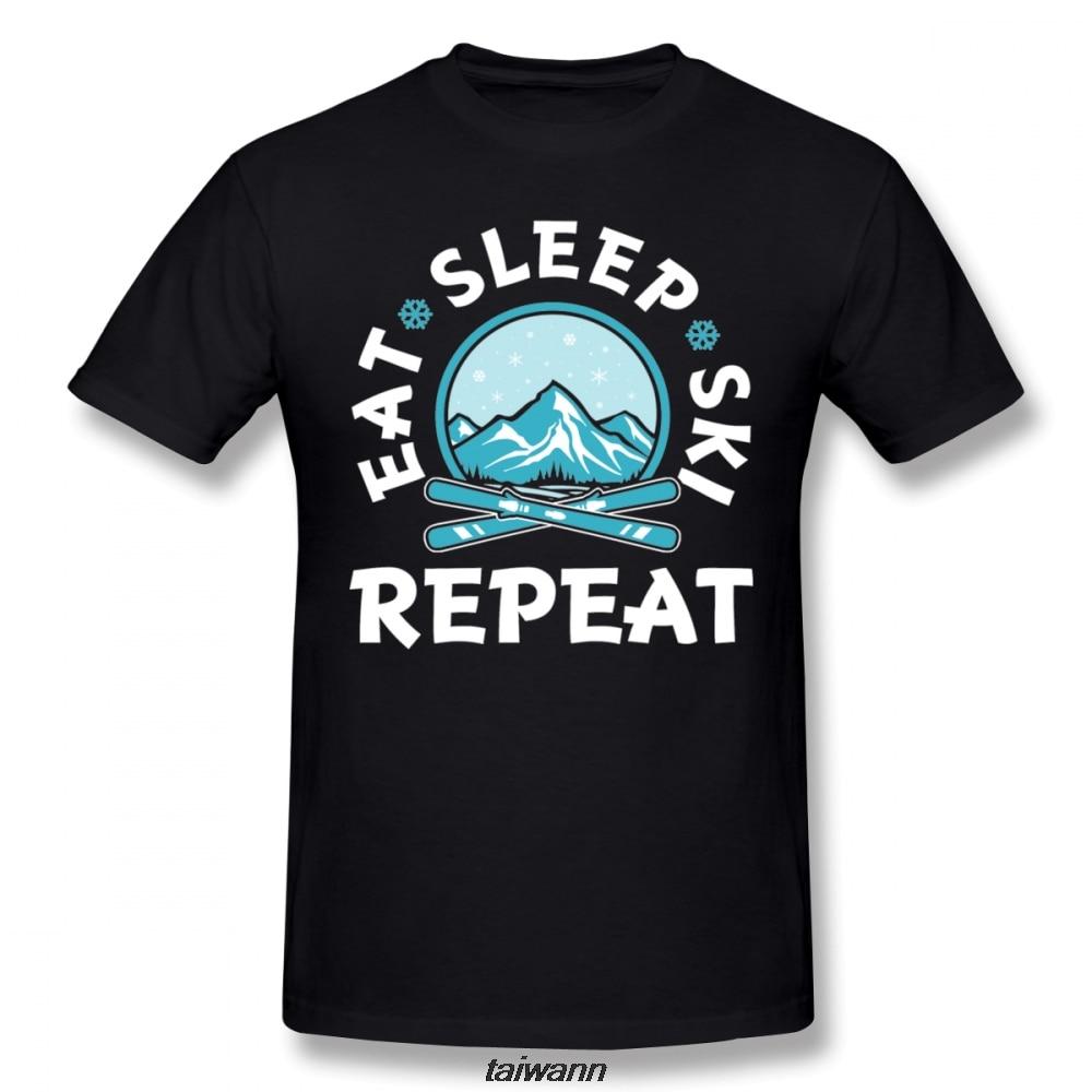 Anime Eat Sleep Ski Repeat Tee Men Organic Round Collar T-shirt Summer Breathable T Shirt Fashionable Tees
