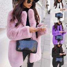 Winter women's artificial rabbit fur coat  fur coat  loose lapel coat  thick and warm  plus size women's plush coat