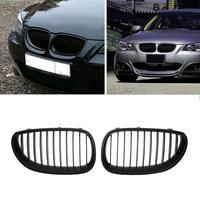 Car Front Kidney Grille Bumper Kidney Grilles Matte Black Framed Dual Slat Grill for BMW E60 E61 520d 520i 523li 525li 530li 2Pc