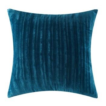 Blue Striped Velvet Cushion Cover