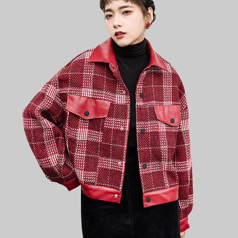 Korean Streetwear Women Falling Jas PU Patchwork Women Upwardrobe Loose Plaid   Basic     Jackets   Long Mouw Women's   Jackets