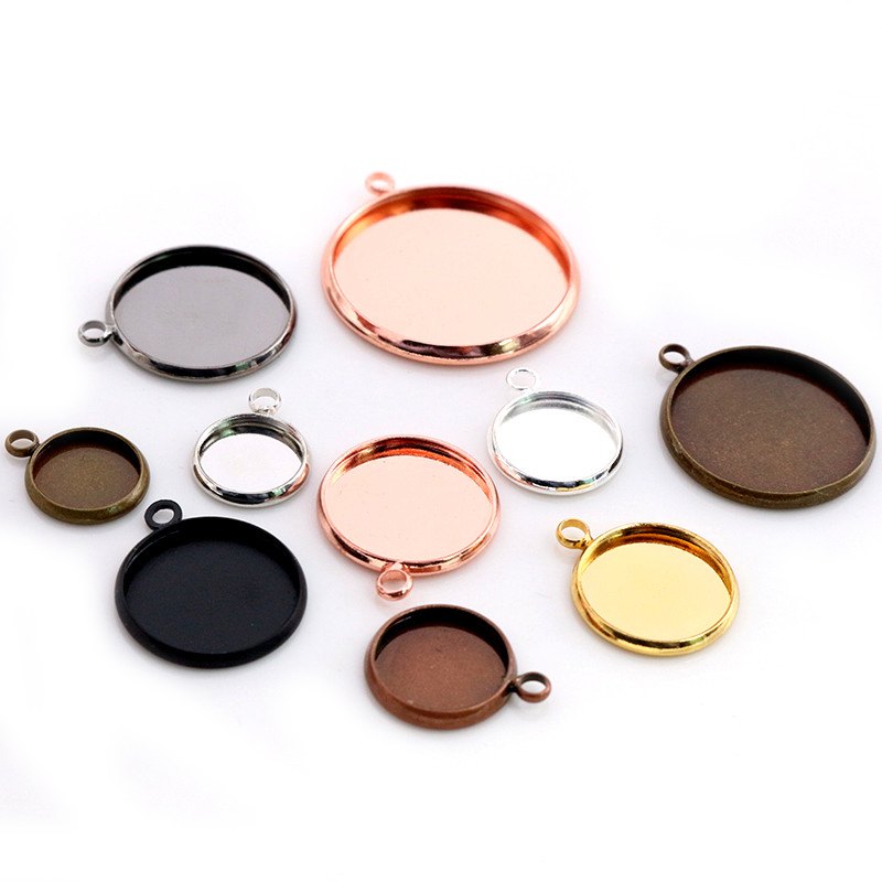 High Quality Copper Material 8-25mm Inner Size  8 Colors Plated One Loops Style Cabochon Base Cameo Setting Charms Pendant Tray