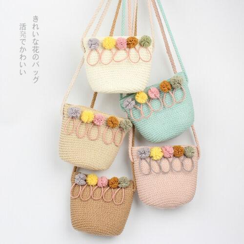 Children Toddler Kid Baby Girls Bohemian Straw Woven Bag Rattan Wicker Purses And Handbags Beach Floral Crossbody Shoulder Bag