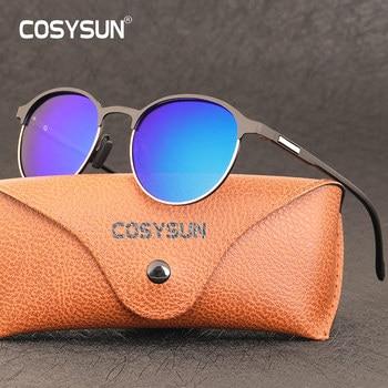 Женские солнцезащитные очки в круглой металлической оправе COSYSUN