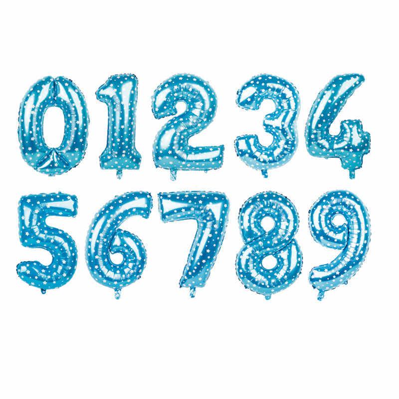16/32 אינץ מספר רדיד אלומיניום בלון עלה זהב כסף כחול דיגיטלי הליום מסיבת יום הולדת קישוט תינוק מוצרי אמבטיה globo