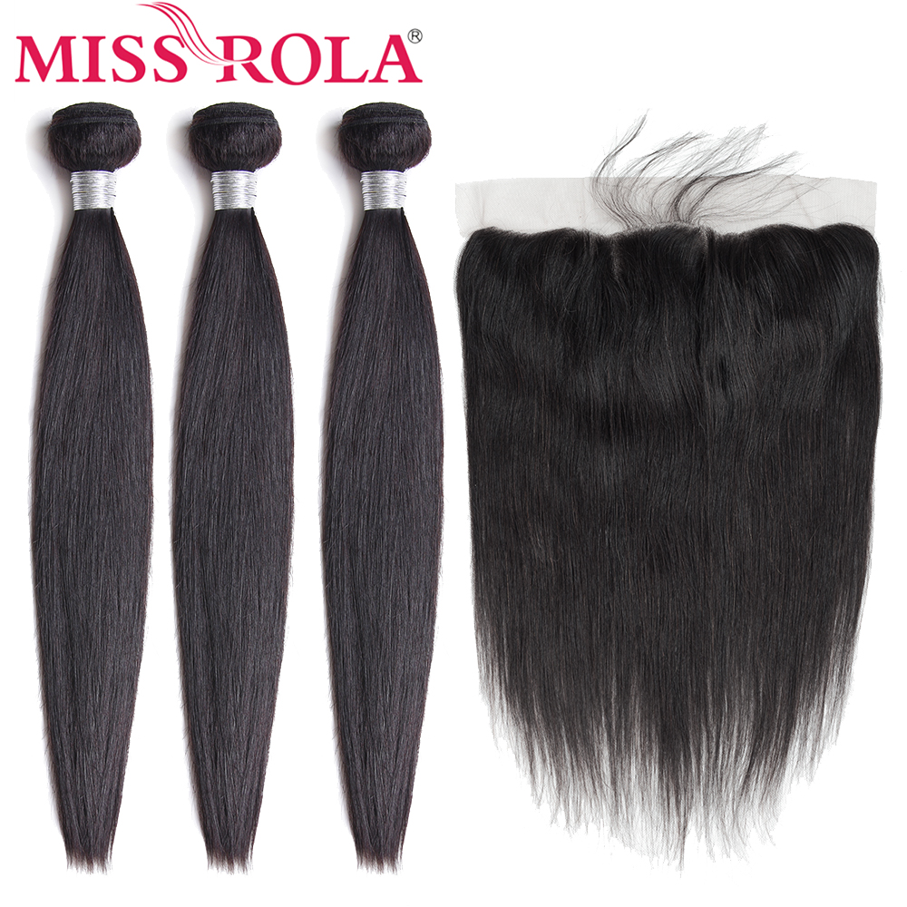 Miss Rola Hair Peruvian Straight 100% Human Hair 3 Bundles With 13*4 Lace Frontal Closure Natural Color Non Remy Hair Extensions