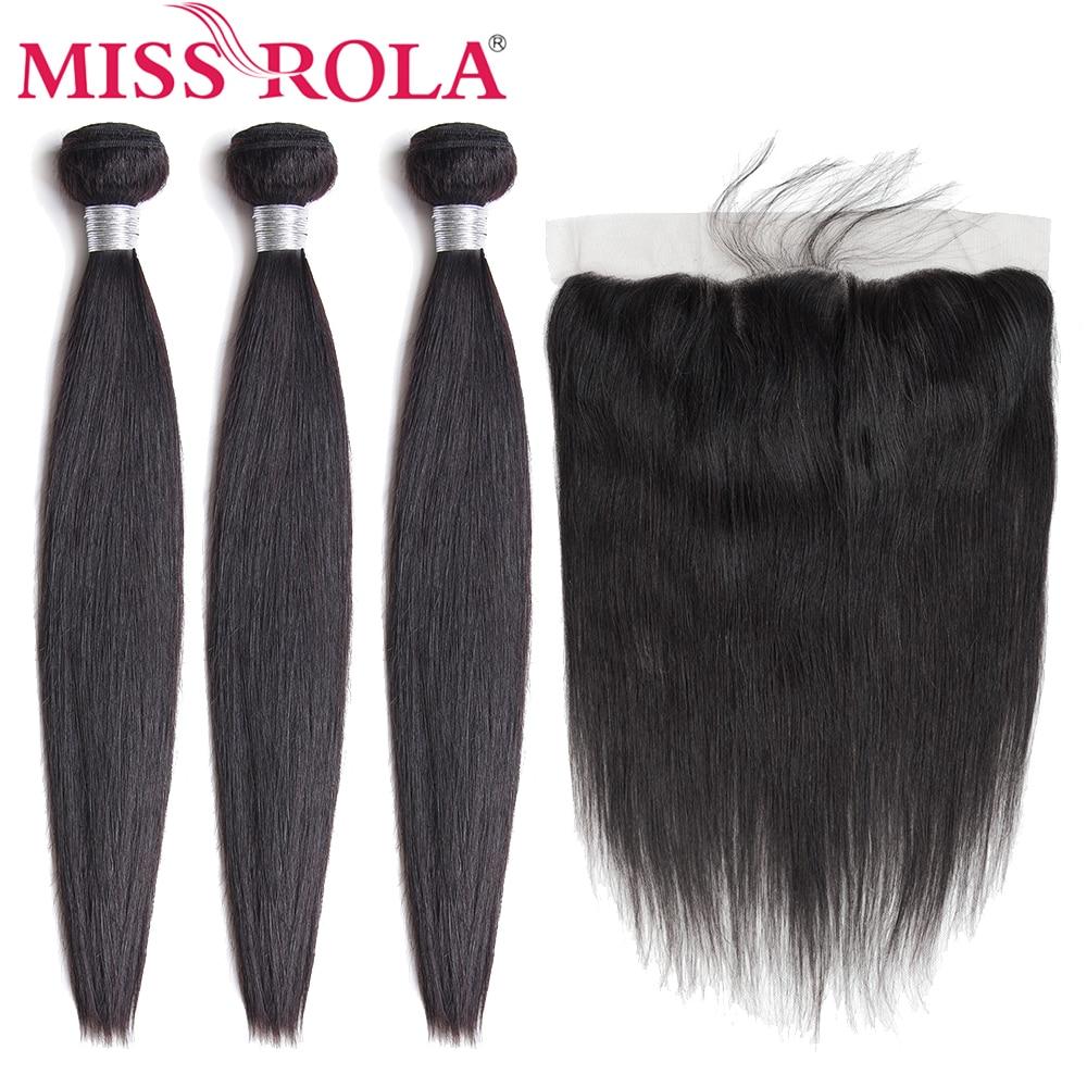 Miss Rola волосы перуанские прямые 100% человеческие волосы 3 пряди с 13*4 кружевной фронтальной застежкой натуральный цвет не Реми наращивание вол...