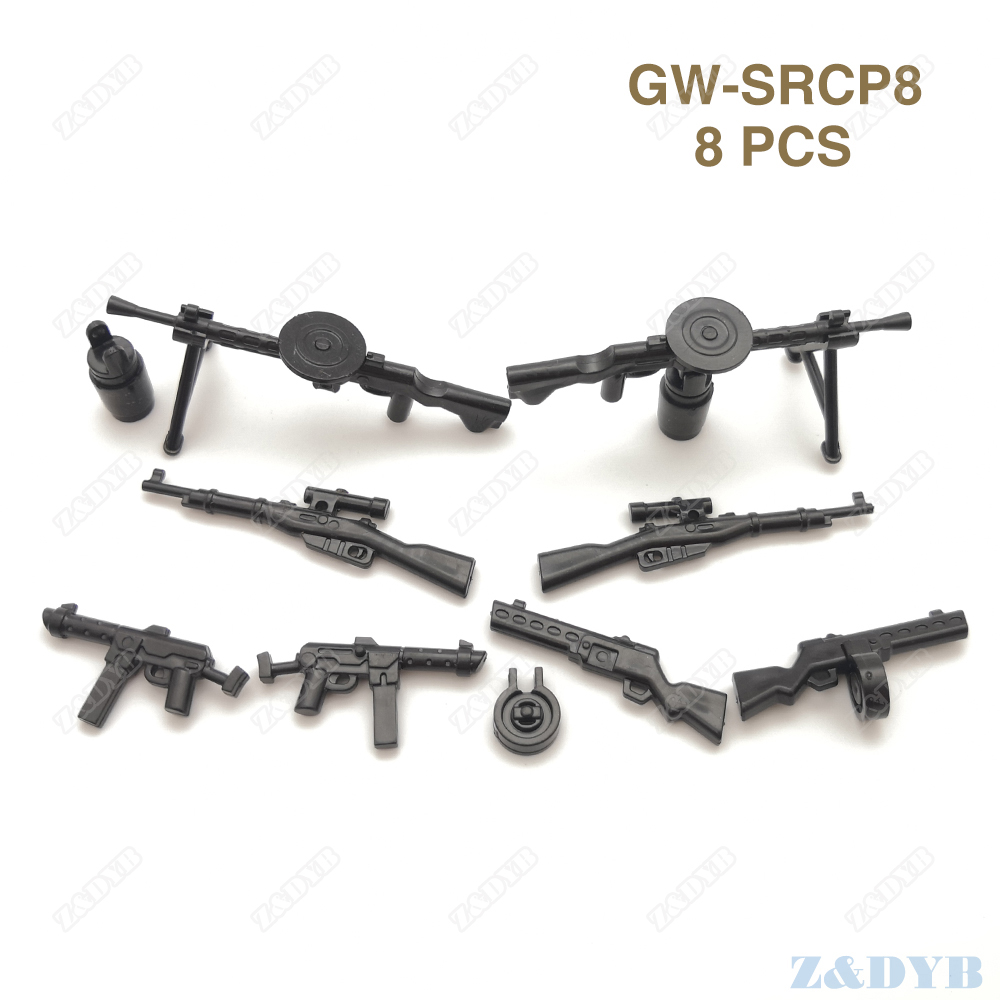 DIY PPSh DP28 MP40 WW2 Gun Military Weapon Mini Soldier MOC Accessories Part Locking Model Building Block Brick Children Kid Toy
