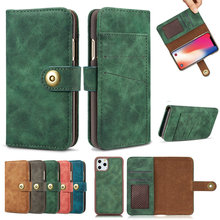 2 in 1 Midnight Green Wallet For Coque iPhone 12 Mini 11 Pro Max Luxury Case iPhone12 2020 SE X S Xr Xs 6 6S 7 8 Plus Flip Cover