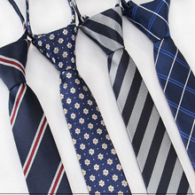 цена на 5cm Fashionable Men Tie Striped Soild Color Leisure Skinny Ties Easy Lazy Zipper Tie Student Party Stage Performance Necktie