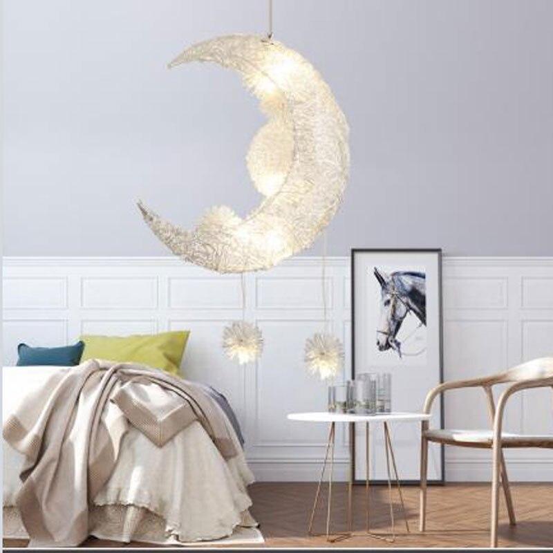 Modern Pendant Ceiling Lamps Moon Star Chandelier Children's Bedroom Pendant Lamp Christmas Ornaments For Home Lighting Fixtures