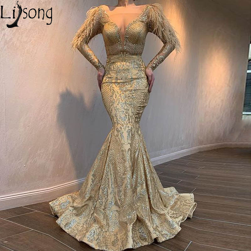 Sparkly Gold Mermaid Evening Dress Long Sleeve Sequined Lace Prom Dresses Deep V Neck Feathers Formal Pageant Gowns Abendkleider