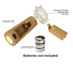 Светодиодный светильник для бутылки вина с пробкой, 20 светодиодный лампочек для бутылок, вечерние пробки на батарейках, декор для бара на Ро...