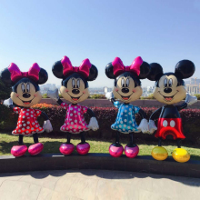 цена на 1PC 175cm Mickey Minnie Mouse Foil Balloons Pink Standing Kids Birthday Party Decorations Globos