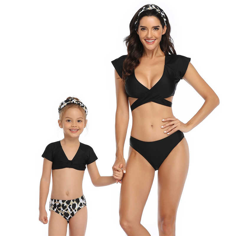 3 قطع من ملابس الأطفال والوالدين عالية الخصر بدلة سباحة مثيرة للأم والبنت بدلة سباحة للبنات ملابس عائلية متناسقة بدلة استحمام بكيني