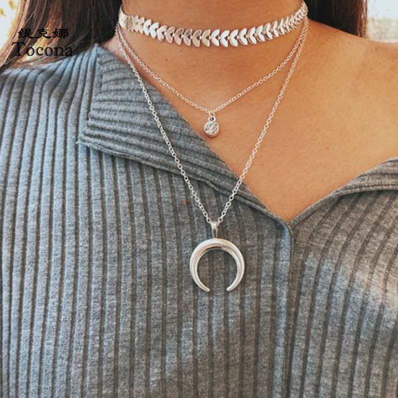 Tocona Boho Moon Pendant Necklace for Women Silver Color Clear Crystal Stone Leaf Chain Chocker Multi-layer Jewelry 9752