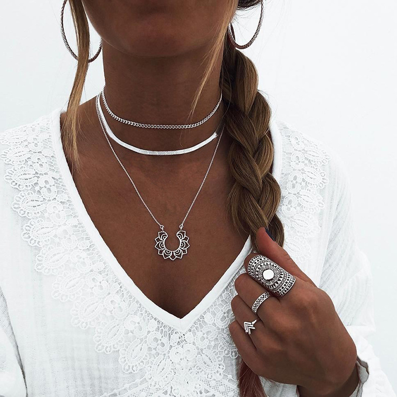 2020 NEW Lotus Necklaces Multi Layer Girl Silver Color bar Bohemia Alloy Necklace Multilayer Chain Women Collares Collier femme 5