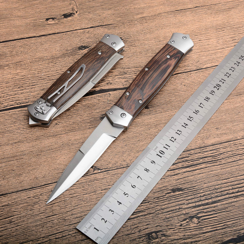 New Horizontal Automatic Tactical Folding Knife 8Cr13MOV Satin Blade Wood Handle Outdoor EDC Pocket Knives With Nylon Sheath