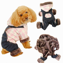 Winter Overalls for Dogs Houndstooth Plaid Warm  Dog Jumpsuit Hood Fleece Pocket Teddy Clothes XS S M L XL
