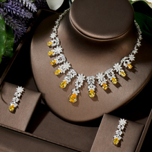 HIBRIDE Luxury 5 Colors Women Wedding Party Dress Jewellery Big Dangle Drop Bridal CZ Necklace Earrings Jewelry Sets N-1448