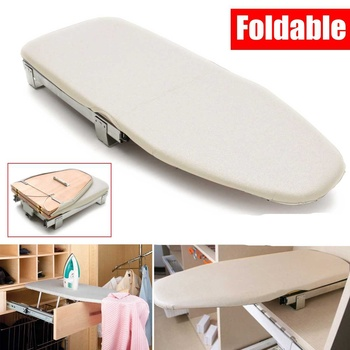 Wooden Ironing Board Pull Out Ironing Board Foldable Space Saving Carbinet Drawer Mounted with Ironing Board Cover Heat Resistan