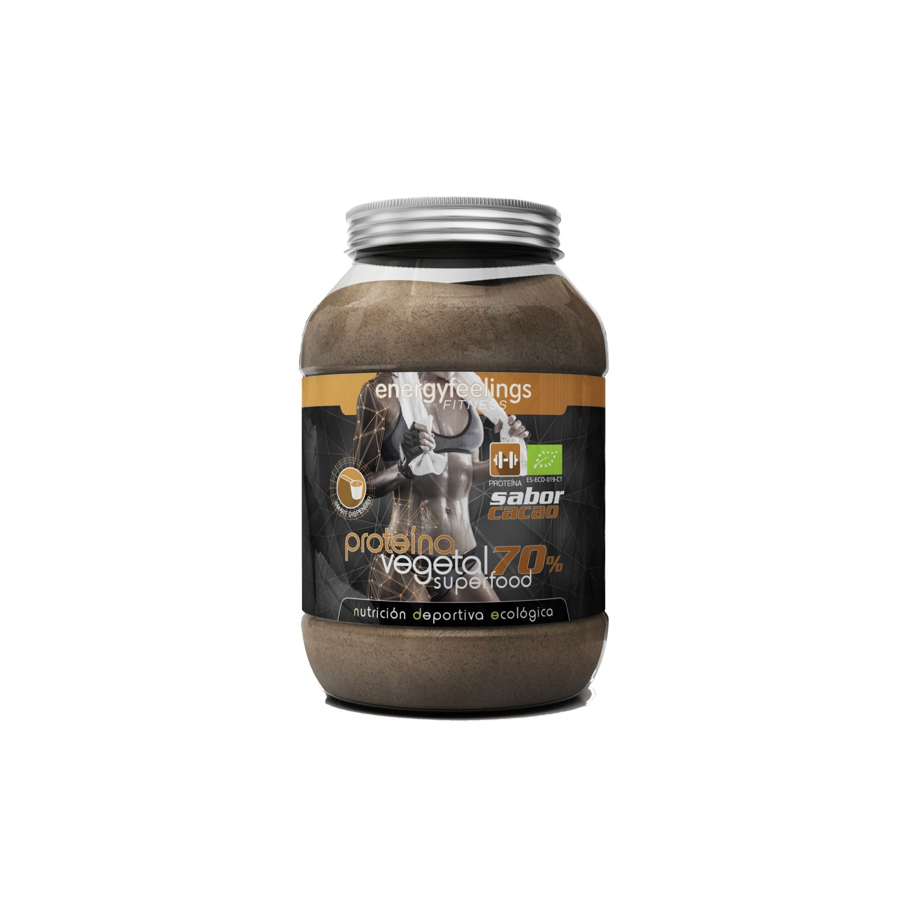 Energy Feelings, Protein Vegan powder Eco-friendly COCOA Vegetable Protein (70%) of Rice, hemp and Pea, 1,5 KG image