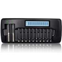 10 Slot LCD Smart Battery Charger Can Charge 1.2V NiMH AA/AAA/18650/3.7V Lithium Battery EU Plug
