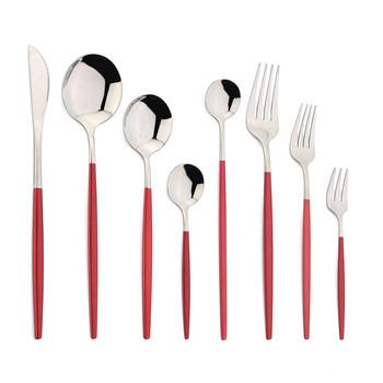 JANKNG zestaw obiadowy czerwony zestaw sztućców ze stali nierdzewnej nóż widelec łyżka zestaw sztućców stół kuchenny sztućce zastawa stołowa zestaw sztućców tanie i dobre opinie CN (pochodzenie) Zachodnia Metal STAINLESS STEEL Ręcznie malowane Pozłacane CE UE Lfgb Ekologiczne Na stanie JK-54153