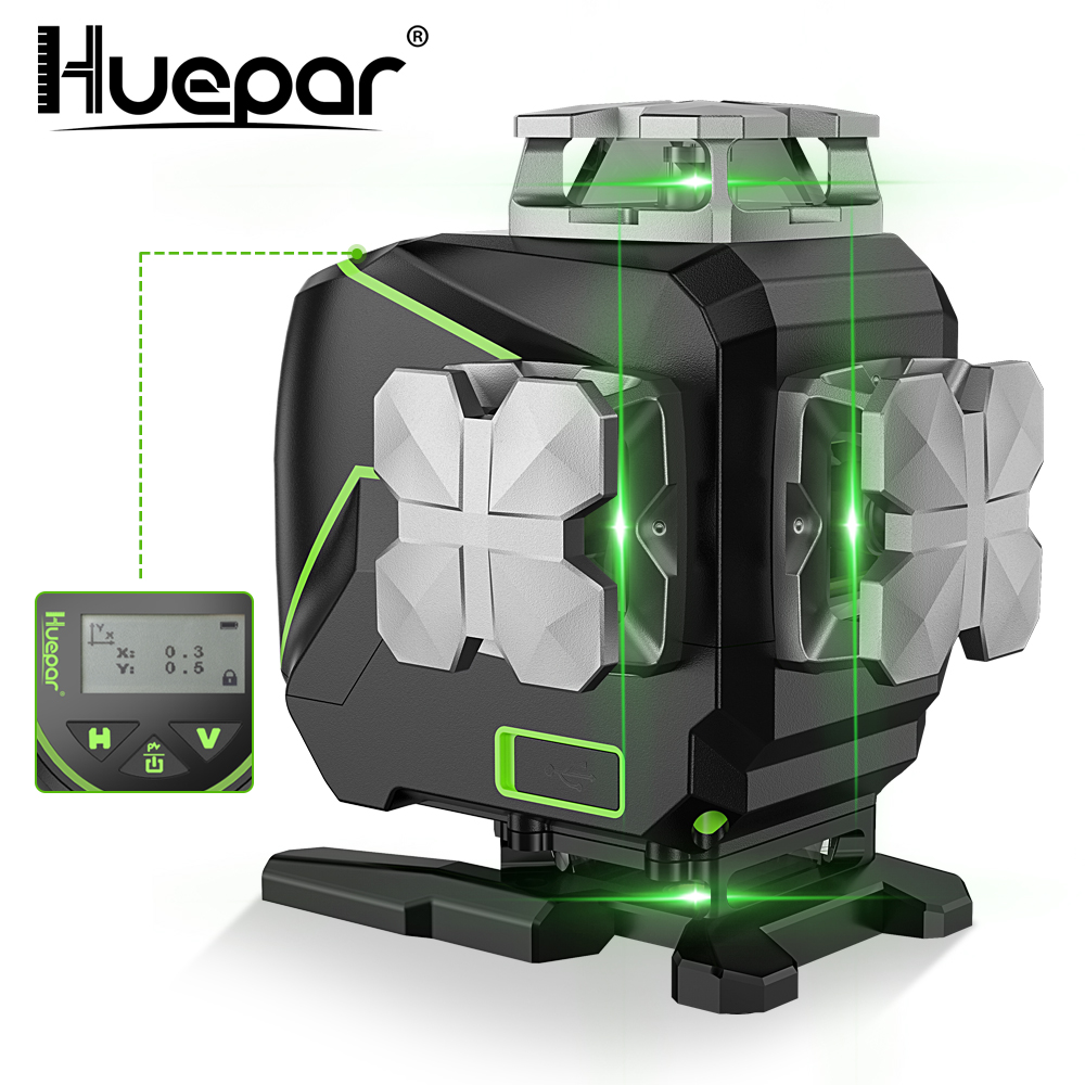 Huepar S04CG 16 lines 4D Cross Line Laser Level Bluetooth  amp  Remote Control Functions Green Beam Lines With Hard Carry Case