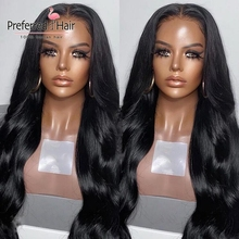 Preferred Preplucked Lace Front Human Hair Wigs With Side Bangs Brazilian Remy Body Wave Glueless Full Lace Wigs For Black Women