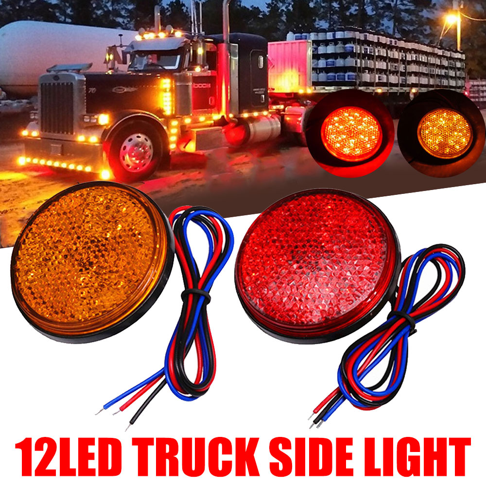 1x 2'' Rear Tail Brake Stop Marker Light Indicator Car Truck Trailer 12LEDS Round Reflector Amber Yellow 12V