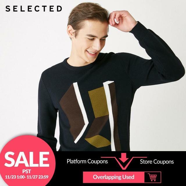 SELECTED 남성 모직 o 넥 컬러 스웨터 옷 긴팔 스웨터 니트 S