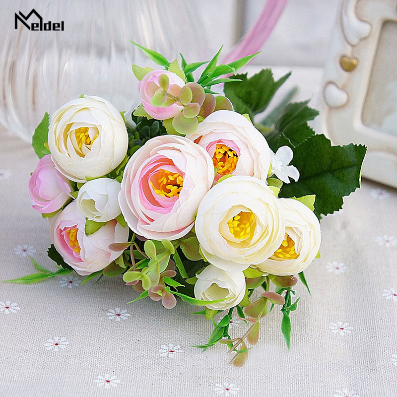 Meldel Artificial Flowers 10 Heads Silk Tea Rose DIY Bridal Bouquet Champagne Blue Rose Home Wedding Decoration Fake Rose Flower