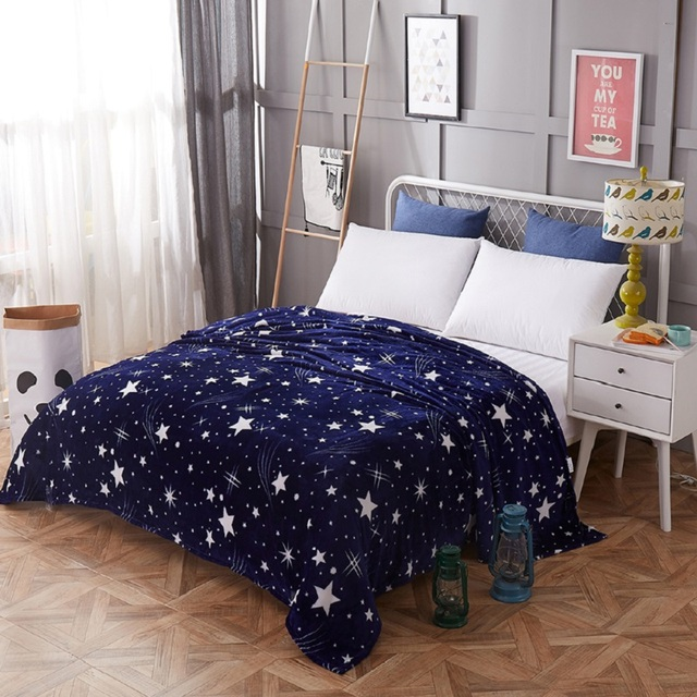 Hot cartoon starry blanket Adult Child Sofa Soft Cover Blanket Bed Linen Fuzzy Blanket Cover