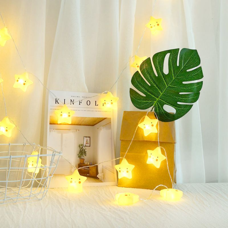 10 LEDs Smiley Star String Light  Fairy Kids Night Lamp For Home Bedroom Decors L69A